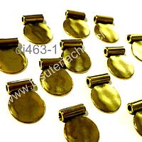 Dije dorado, 14 x 11 mm, set de 14 unidades