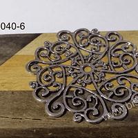 Colgante plateado, 52 mm de diámetro, por unidad