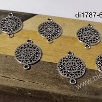 Dije plateado doble conexión, 20 x 14 mm, set de 7 unidades