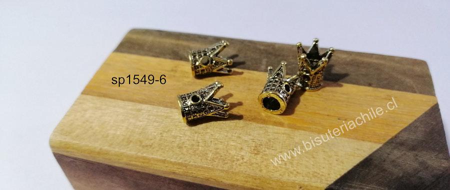 Separador dorada corona, 17 x 7 mm, set de 4 unidades