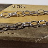 Cadenas, cadena plateada, eslabón de 10 x 7 mm, por metro