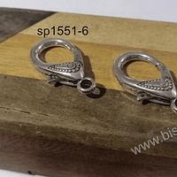 Gancho mosquetón con diseño, 31 mm de largo x 16 mm de ancho, por par