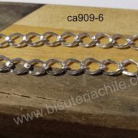 Cadenas, cadena plateada, eslabón de 8 x 7 mm, por metro