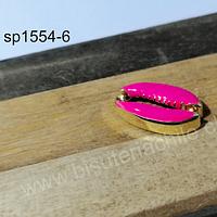 Separador dorado en forma de concha con aplicación color fucsia, 19x13 mm, por unidad