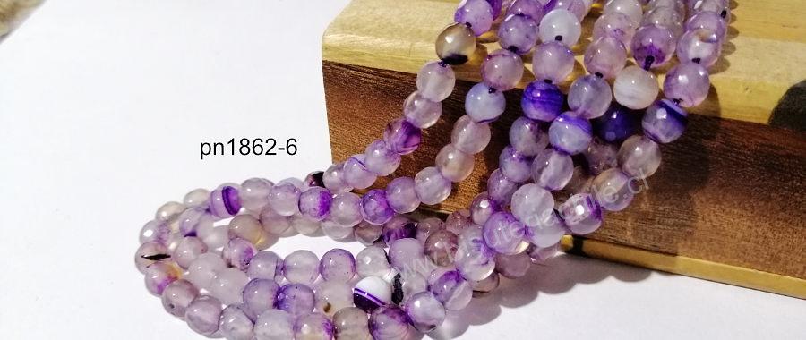 Agatas, Agata facetada, jaspeada con lila en 6 mm, tira de 62 piedras aprox