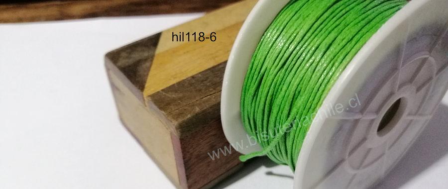 Hilos, Hilo de algodón verde manzana, 1 mm, carrete de 40 yardas