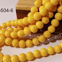 Perla de vidrio 8 mm color amarillo tira de 53 unidades