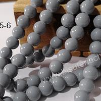 Perla de vidrio 8 mm color gris tira de 53 unidades