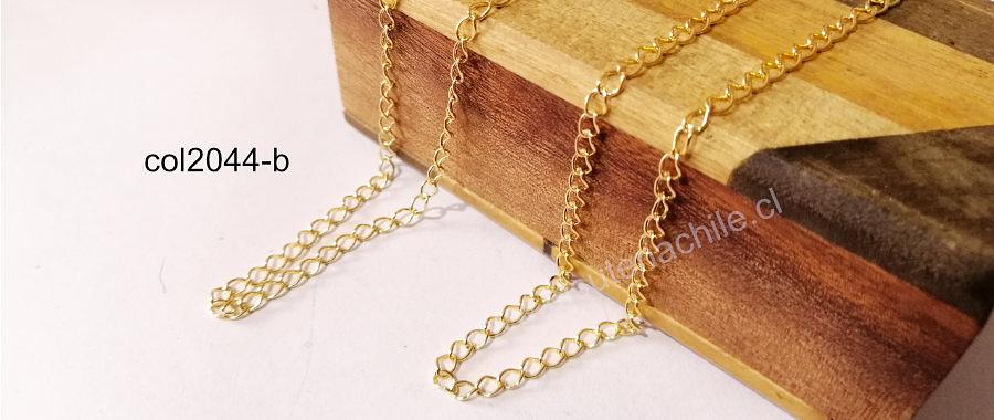cadena baño de oro, de alargue, de 4 x 4  mm, por metro