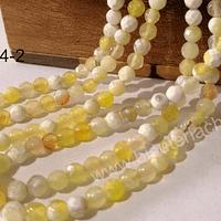 Agatas, agata de 4 mm, en tonos amarilos y blancos, 89 piedras aprox