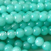 Perla de vidrio jade, 8 mm, tira de 110 unidades