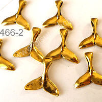 Dije cola de sirena dorado, 9 x 9 mm, set de 8 unidades