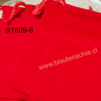 Bolsa de terciopelo rojo, 90 x 65 mm, set de 5 unidades