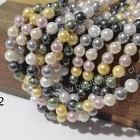 Perla Shell 4 mm, en colores verde, gris, rosado y amarillo, tira de 90 perlas aprox