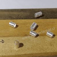 Separador baño de plata, 4 x 4 mm, agujero de 3 mm, set de 10 unidades