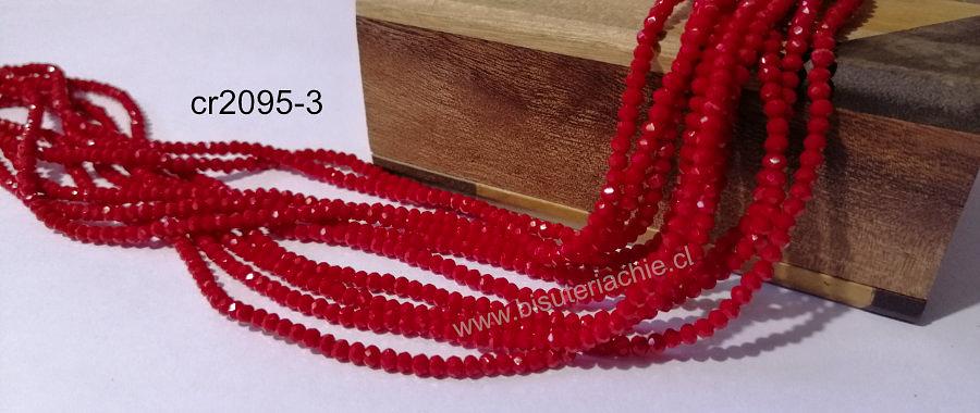 Cristal facetado rojo de 2 x 2 mm, tira de 190 cristales aprox