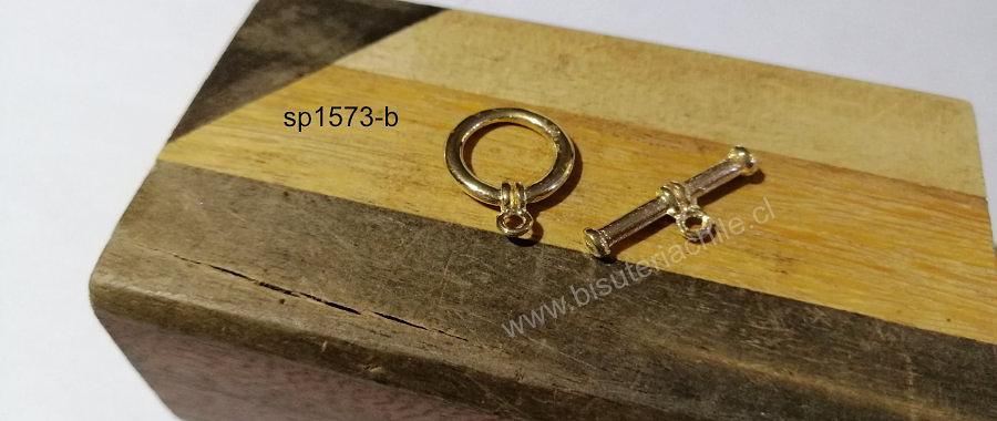 Cierre estilos timón baño de oro, 15 mm de diámetro, por juego