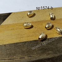 Separador baño de oro escarchado, 7 x 5 mm, agujero de 2 mm, set de 6 unidades