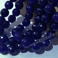 Agatas, Agata de 10 mm, facetada color azul oscuro tira de 37 piedras aprox.