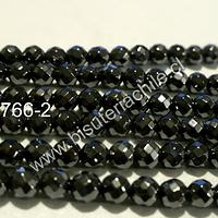 Hematite negra facetada, no imantada de 4 mm, tira de 100 piedras aprox.