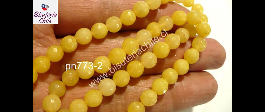 Agata de 6 mm en tono amarillo, tira de 62 piedras aprox