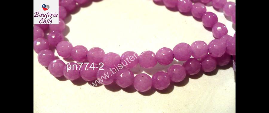 Agata de 6 mm en tono lila claro, tira de 62 piedras aprox
