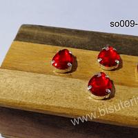 Cristal soutache rojo con aplicación metálica plateada, 14 x 10 mm, set de 4 unidades