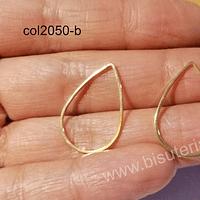 Colgante tipo gota baño de oro, de 25 x 17 mm, por par