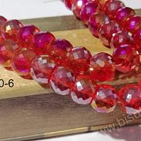 Cristal facetado especial chato, austriaco, extra brillo tornasol de 12 mm, set de 6 cristales