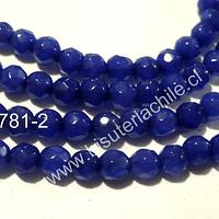 Agata de 4 mm en tono azul, tira de 90 piedras aprox