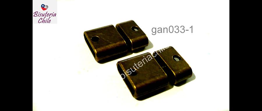 Cierre envejecido, 20 mm de largo x 15 mm de ancho, agujero de 12 x 3 mm, set de 2 unidades