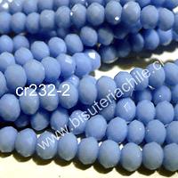 Cristal color celeste, 6 mm por 5 mm, tira de 98 unidades
