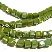 Cristal chino facetado verde limón cuadrado, 4 mm, tira de 99 cristales aprox.
