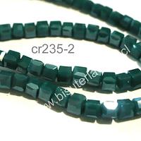 Cristal facetado verde oscuro cuadrado, 3 mm, tira de 99 cristales aprox.