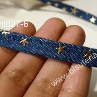 Cinta de mezclilla con aplicación de estrellas, especial para chockers, 10 mm de ancho, por metro