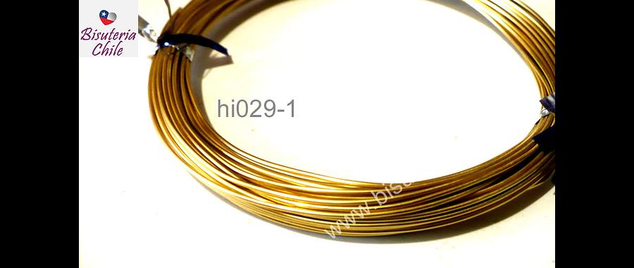 Alambre aluminio para modelar color dorado claro, 1 mm de grosor, por rollo de 20 grs.