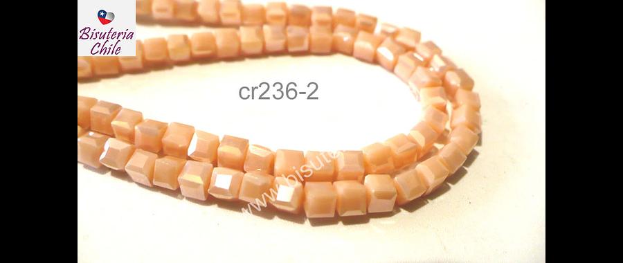 Cristal facetado naranjo claro cuadrado, 3 mm, tira de 99 cristales aprox.