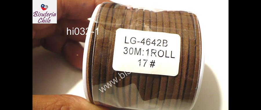 Gamuza 3 mm café, rollo de 30 metros