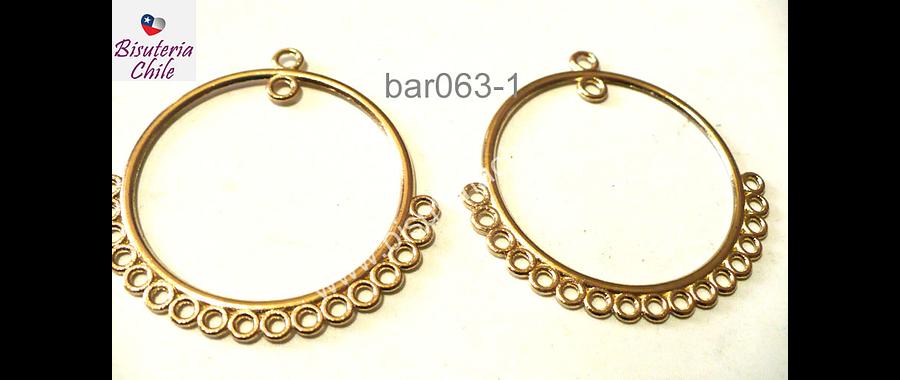 Base de aro dorado, 36 mm de diámetro, se vende por par