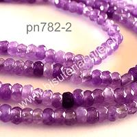 Agata 4 x 3 mm achatada color lila, tira de 140 piedras aprox