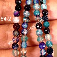 Agata 4 mm, en azules, calipsos y morados , tira de 90 piedras aprox