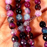Agata color azules, morados, rosados y fucsias facetada de 6 mm, tira de 60 piedras aprox