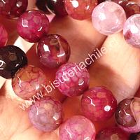Agata en tonalidades rosadas, 10 mm, tira de 38 piedras aprox.