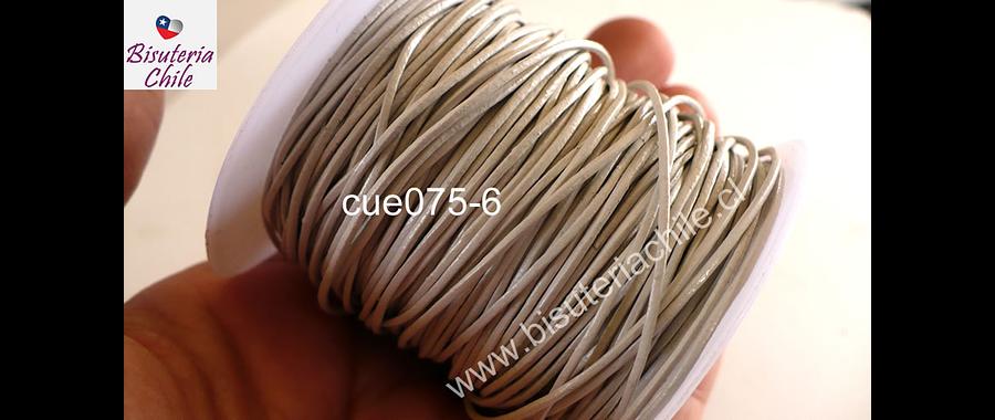 Cuero gris perla, de 1 mm, por metro