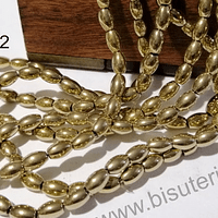 Hematite dorada, 6 x 4 mm, tira de 65 piedras aprox.