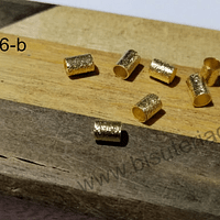 Separador baño de oro, 5 x 4 mm, agujero de 3 mm, set de 7 unidades