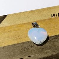 Dije piedra luna en forma de corazón, 15 x 16 mm, por unidad (opalina). San Valentin