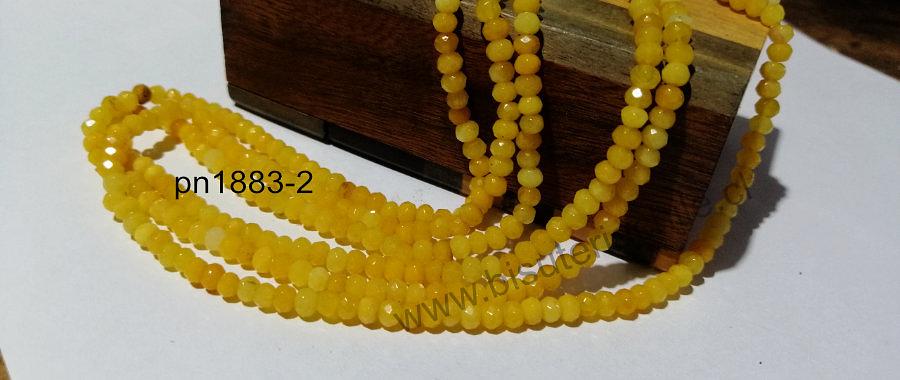 Agatas, Agata RONDELL facetada de 4 mm, amarilla tira de 130 piedras aprox