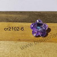 Cristal excelente calidad, austriaco, flor rosa tornasol, con orificio superior 14 mm