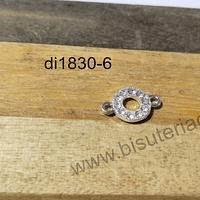 Dije plateado doble conexión con strass, 13 x 8 mm, por unidad
